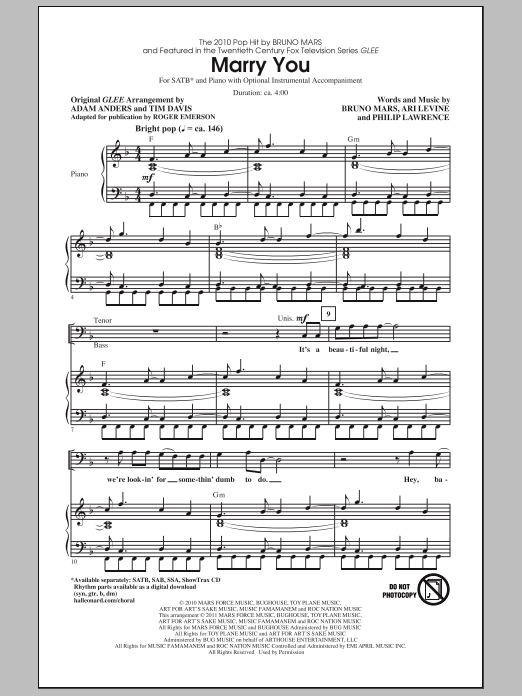 Roger Emerson Marry You sheet music notes and chords. Download Printable PDF.