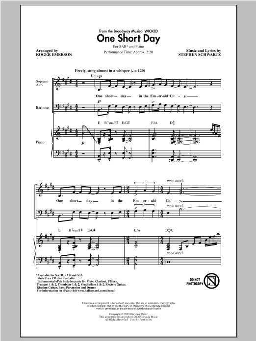 Roger Emerson One Short Day (from Wicked) sheet music notes and chords. Download Printable PDF.