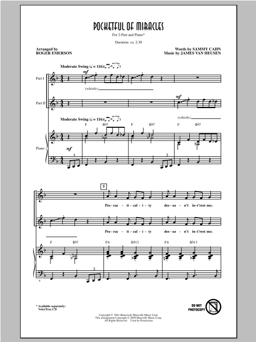 Roger Emerson Pocketful Of Miracles sheet music notes and chords. Download Printable PDF.