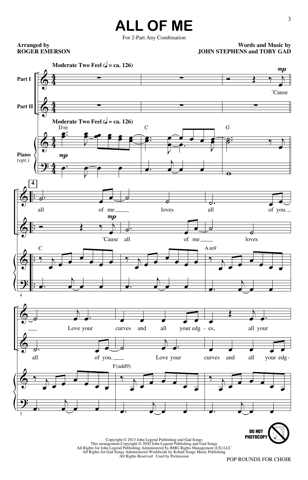 Roger Emerson Pop Rounds for Choir sheet music notes and chords. Download Printable PDF.