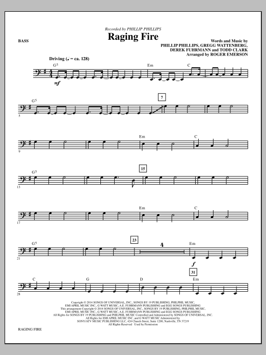 Roger Emerson Raging Fire - Bass sheet music notes and chords. Download Printable PDF.