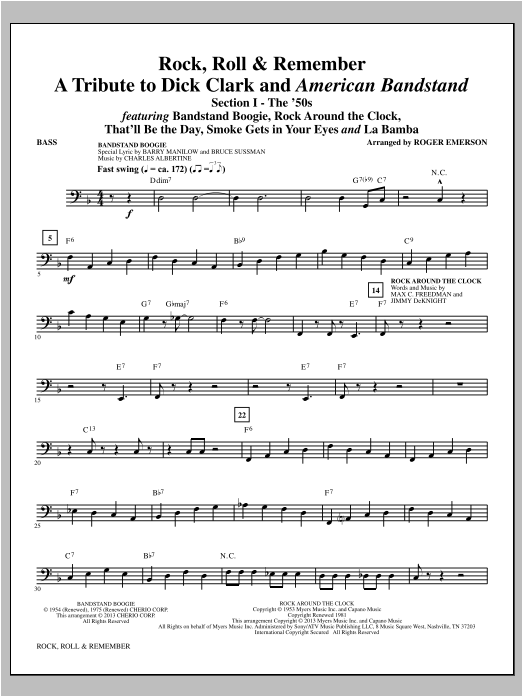 Roger Emerson Rock, Roll & Remember - Bass sheet music notes and chords. Download Printable PDF.