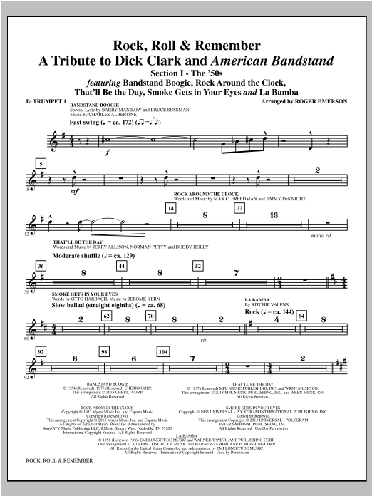 Roger Emerson Rock, Roll & Remember - Bb Trumpet 1 sheet music notes and chords. Download Printable PDF.