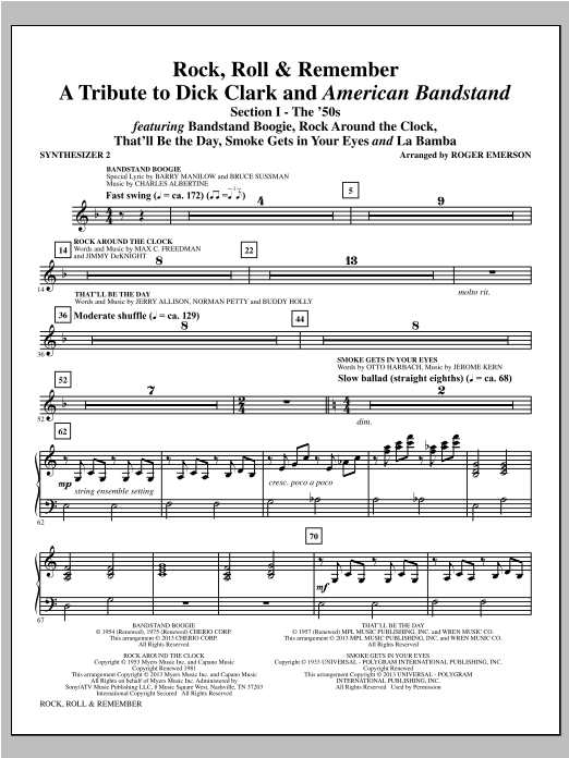 Roger Emerson Rock, Roll & Remember - Synthesizer II sheet music notes and chords. Download Printable PDF.
