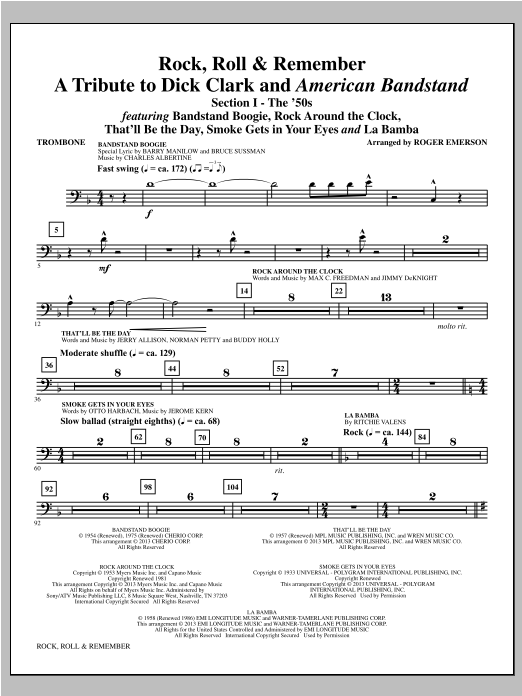 Roger Emerson Rock, Roll & Remember - Trombone sheet music notes and chords. Download Printable PDF.