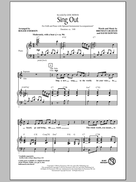 Roger Emerson Sing Out sheet music notes and chords. Download Printable PDF.