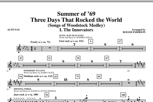 Roger Emerson Summer Of '69: Three Days That Rocked The World - Alto Sax sheet music notes and chords. Download Printable PDF.