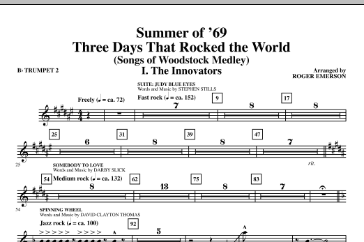 Roger Emerson Summer Of '69: Three Days That Rocked The World - Bb Trumpet 2 sheet music notes and chords. Download Printable PDF.