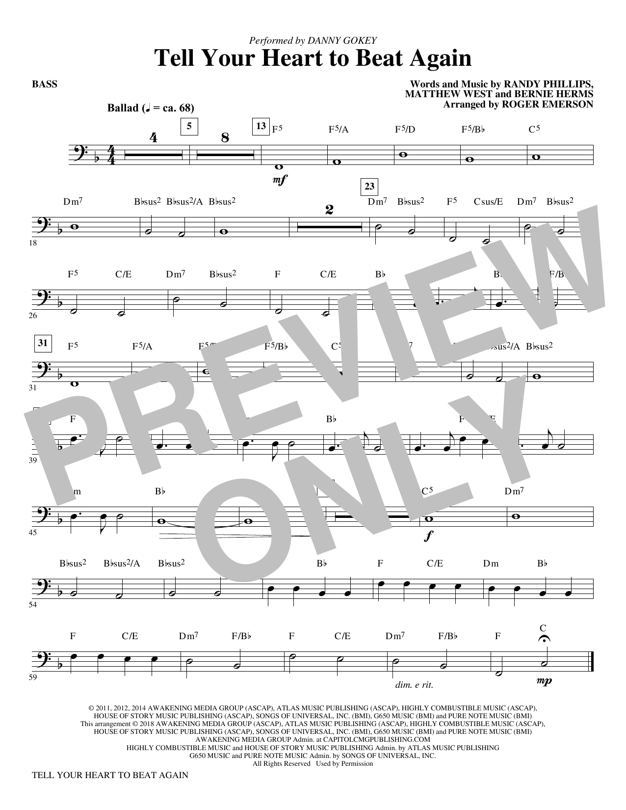 Roger Emerson Tell Your Heart to Beat Again   Bass Sheet Music Notes,  Chords   Download Printable Choir Instrumental Pak PDF Score   SKU 15