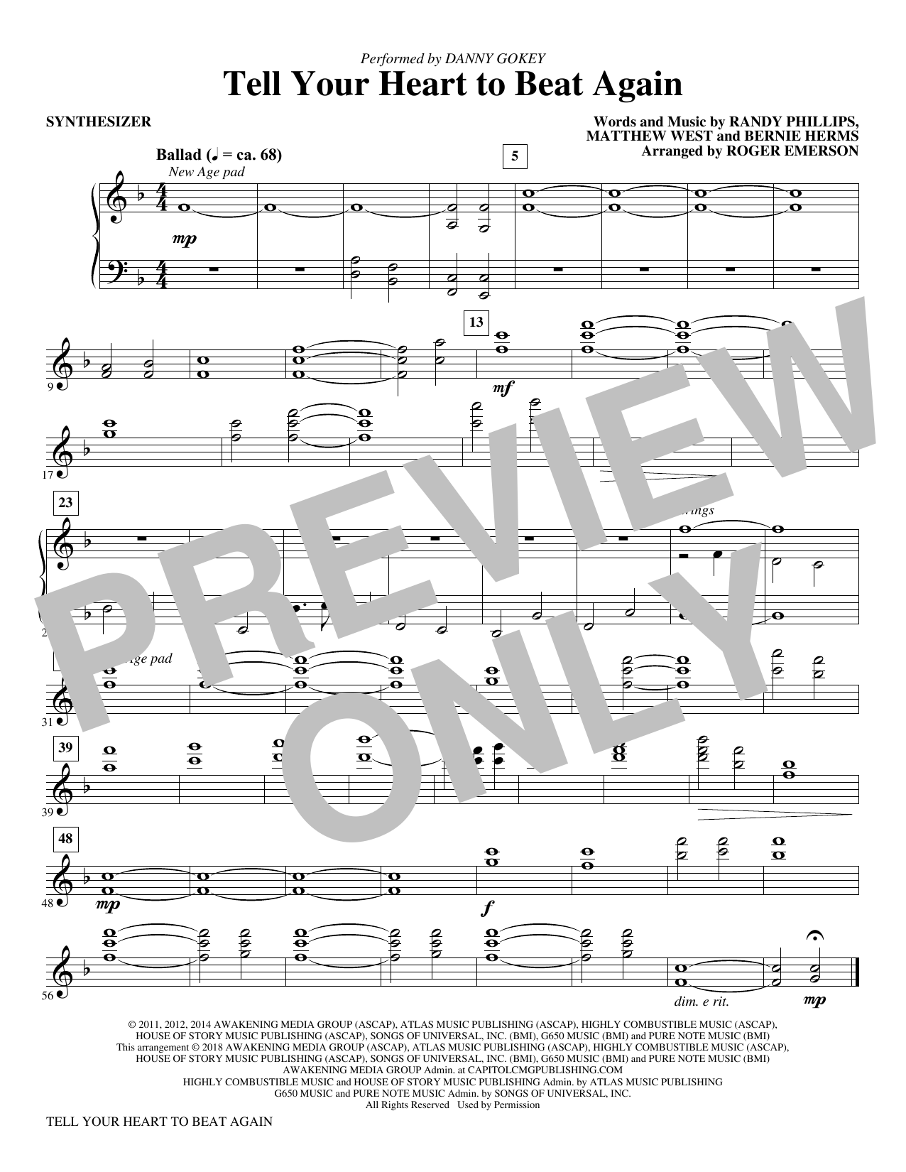Roger Emerson Tell Your Heart to Beat Again   Synthesizer Sheet Music  Notes, Chords   Download Printable Choir Instrumental Pak PDF Score   SKU  ...