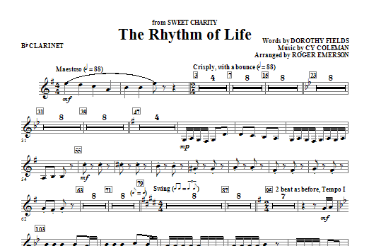 Roger Emerson The Rhythm Of Life - Bb Clarinet sheet music notes and chords. Download Printable PDF.