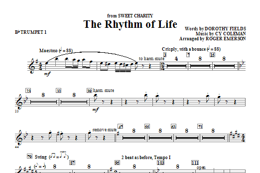Roger Emerson The Rhythm Of Life - Bb Trumpet 1 sheet music notes and chords. Download Printable PDF.