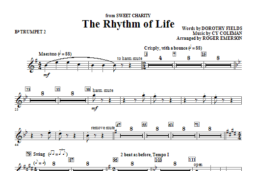 Roger Emerson The Rhythm Of Life - Bb Trumpet 2 sheet music notes and chords. Download Printable PDF.