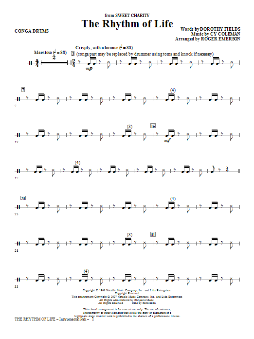Roger Emerson The Rhythm Of Life - Congas sheet music notes and chords. Download Printable PDF.