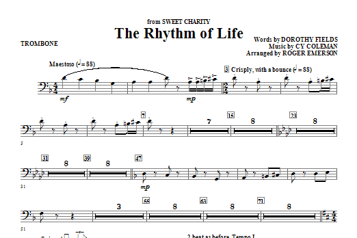 Roger Emerson The Rhythm Of Life - Trombone sheet music notes and chords. Download Printable PDF.