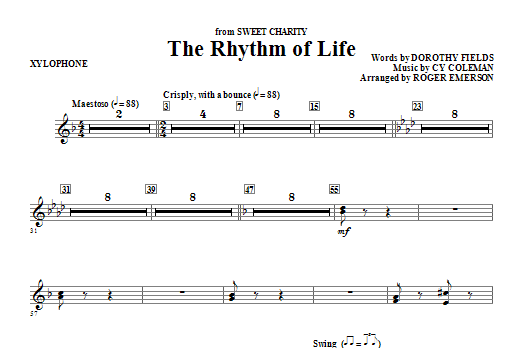 Roger Emerson The Rhythm Of Life - Xylophone sheet music notes and chords. Download Printable PDF.