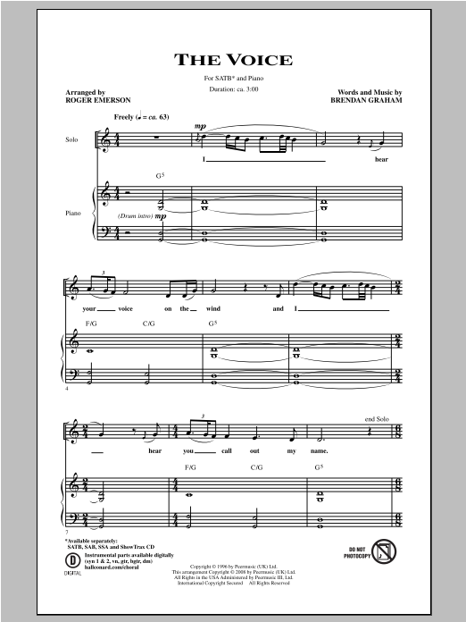 Roger Emerson The Voice sheet music notes and chords. Download Printable PDF.