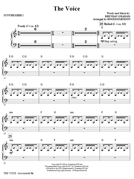 Roger Emerson The Voice - Synthesizer II sheet music notes and chords. Download Printable PDF.
