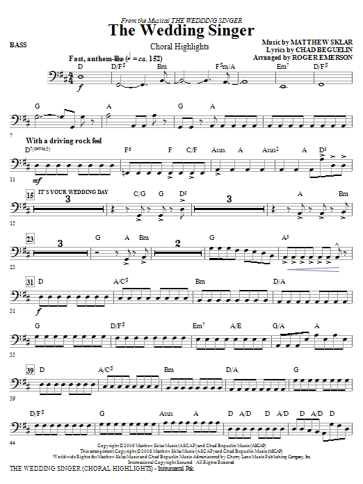Roger Emerson The Wedding Singer (Choral Highlights) - Bass sheet music notes and chords. Download Printable PDF.