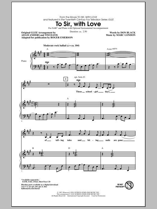Roger Emerson To Sir, With Love sheet music notes and chords. Download Printable PDF.