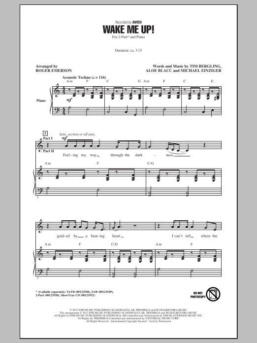 Roger Emerson Wake Me Up! sheet music notes and chords