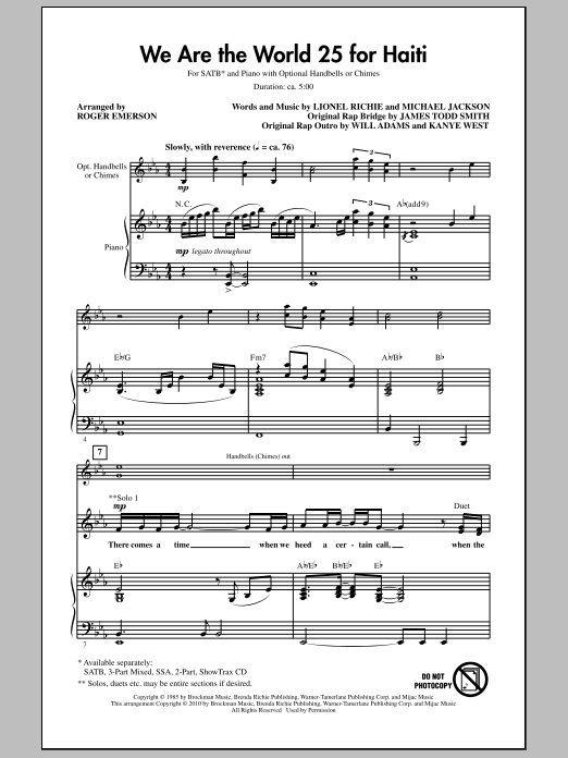 Roger Emerson We Are The World 25 For Haiti sheet music notes and chords