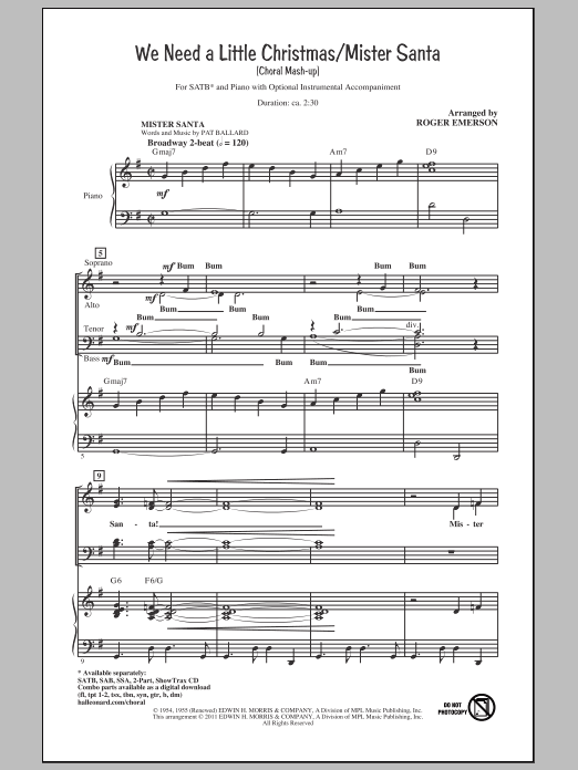 Roger Emerson We Need A Little Christmas / Mister Santa sheet music notes and chords. Download Printable PDF.