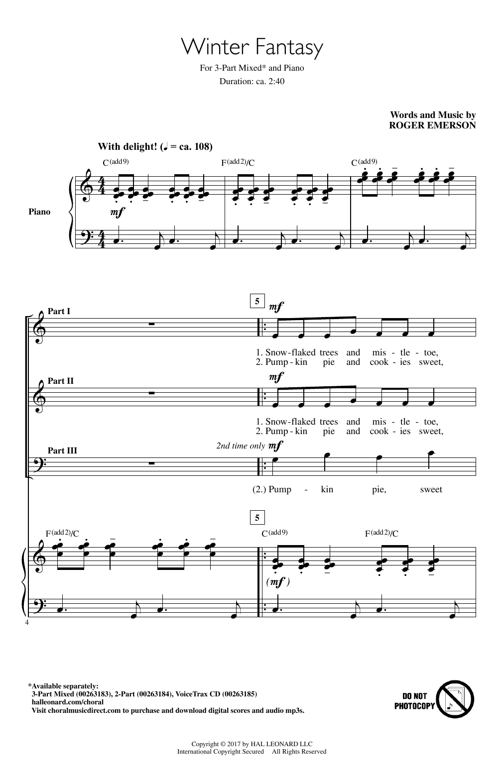 Roger Emerson Winter Fantasy sheet music notes and chords. Download Printable PDF.