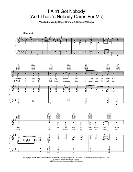 Roger Graham I Ain't Got Nobody (And There's Nobody Cares For Me) sheet music notes and chords. Download Printable PDF.