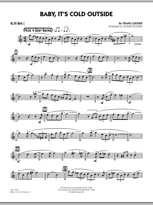 Roger Holmes Baby, It's Cold Outside - Alto Sax 1 sheet music notes and chords. Download Printable PDF.