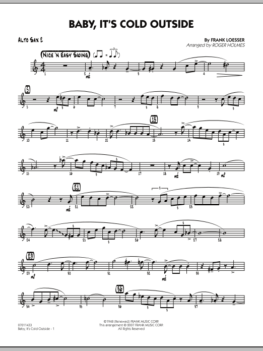 Roger Holmes Baby, It's Cold Outside - Alto Sax 2 sheet music notes and chords. Download Printable PDF.