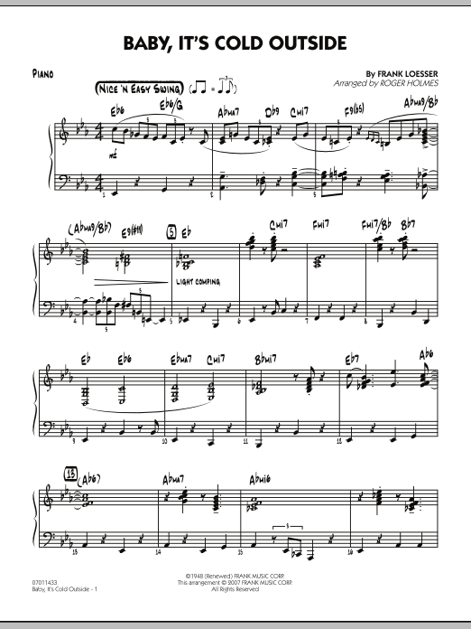 Roger Holmes Baby, It's Cold Outside - Piano sheet music notes and chords. Download Printable PDF.