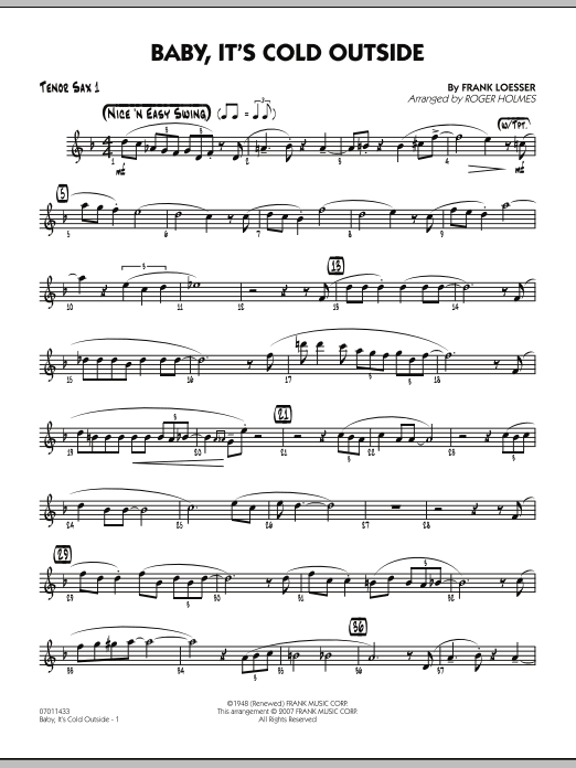 Roger Holmes Baby, It's Cold Outside - Tenor Sax 1 sheet music notes and chords. Download Printable PDF.