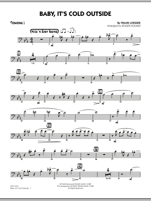 Roger Holmes Baby, It's Cold Outside - Trombone 1 sheet music notes and chords. Download Printable PDF.