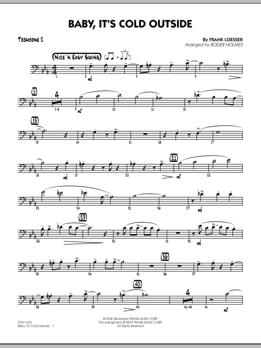 Roger Holmes Baby, It's Cold Outside - Trombone 2 sheet music notes and chords. Download Printable PDF.