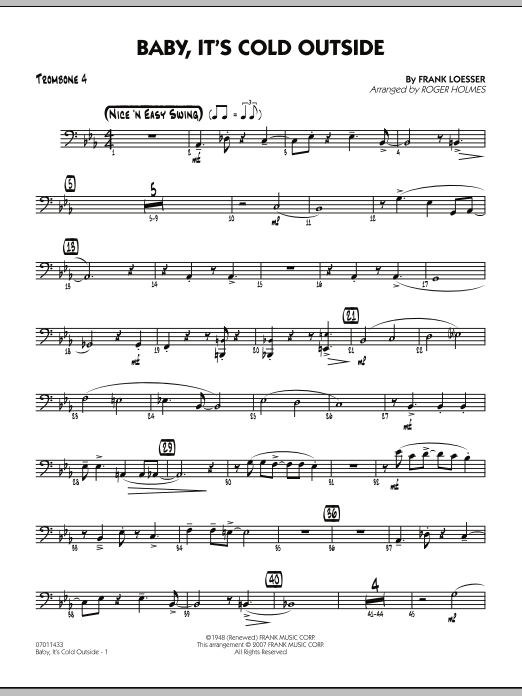 Roger Holmes Baby, It's Cold Outside - Trombone 4 sheet music notes and chords. Download Printable PDF.