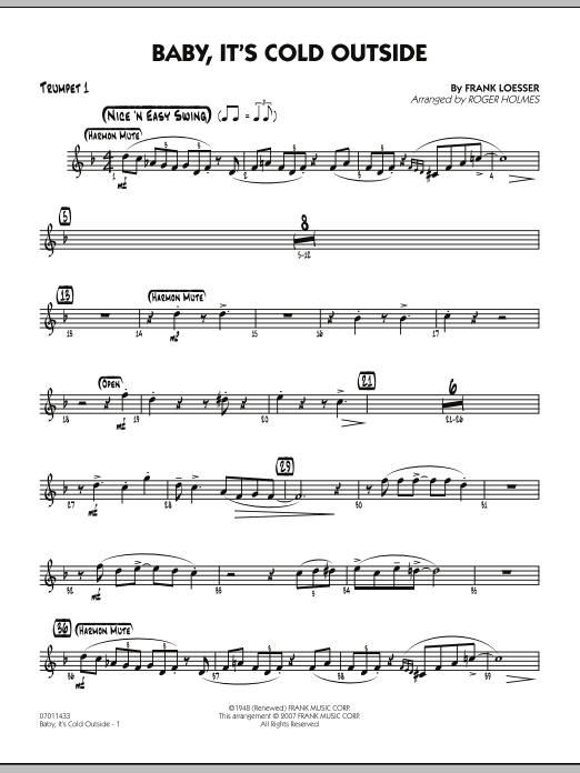 Roger Holmes Baby, It's Cold Outside - Trumpet 1 sheet music notes and chords. Download Printable PDF.