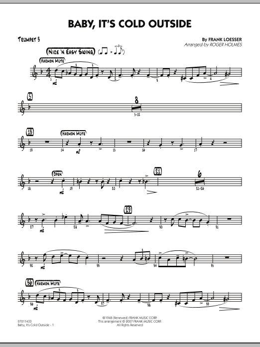 Roger Holmes Baby, It's Cold Outside - Trumpet 3 sheet music notes and chords. Download Printable PDF.