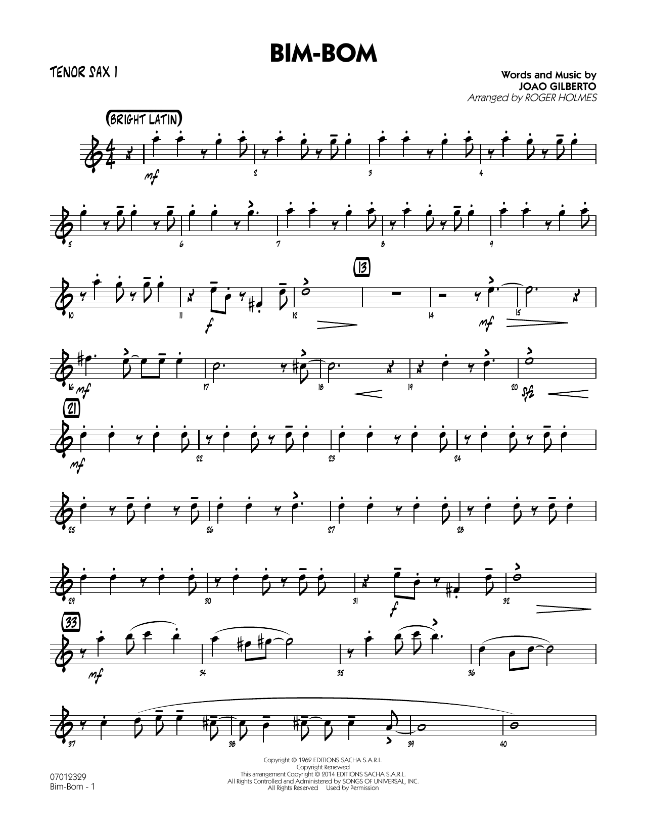 Roger Holmes Bim-Bom - Tenor Sax 1 sheet music notes and chords. Download Printable PDF.
