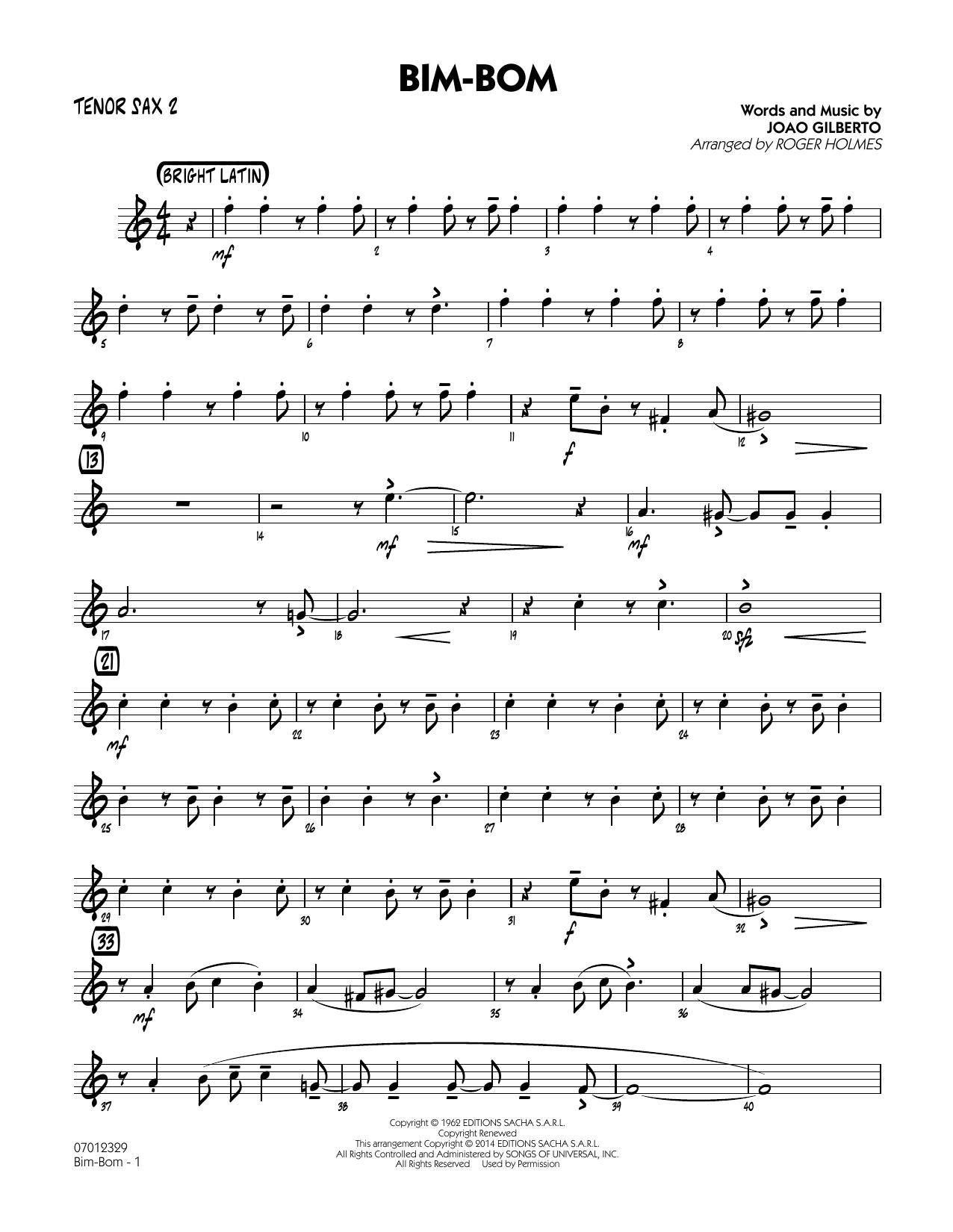 Roger Holmes Bim-Bom - Tenor Sax 2 sheet music notes and chords. Download Printable PDF.