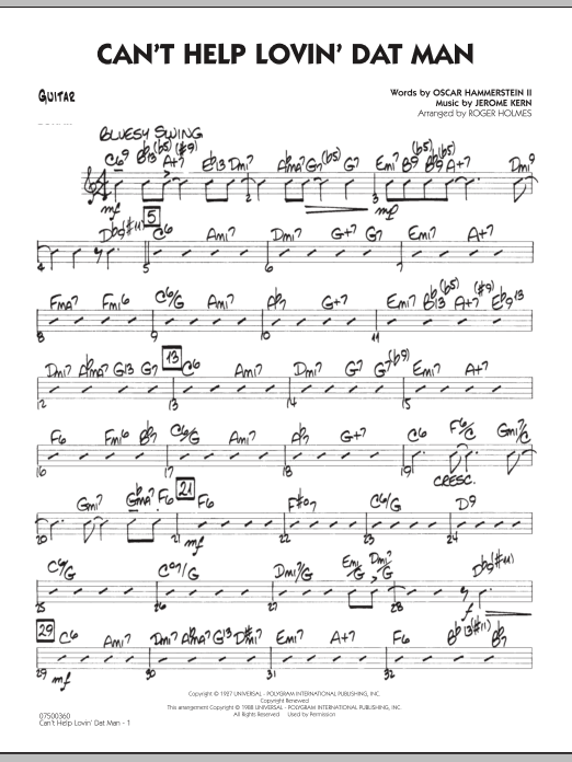Roger Holmes Can't Help Lovin' Dat Man - Guitar sheet music notes and chords. Download Printable PDF.