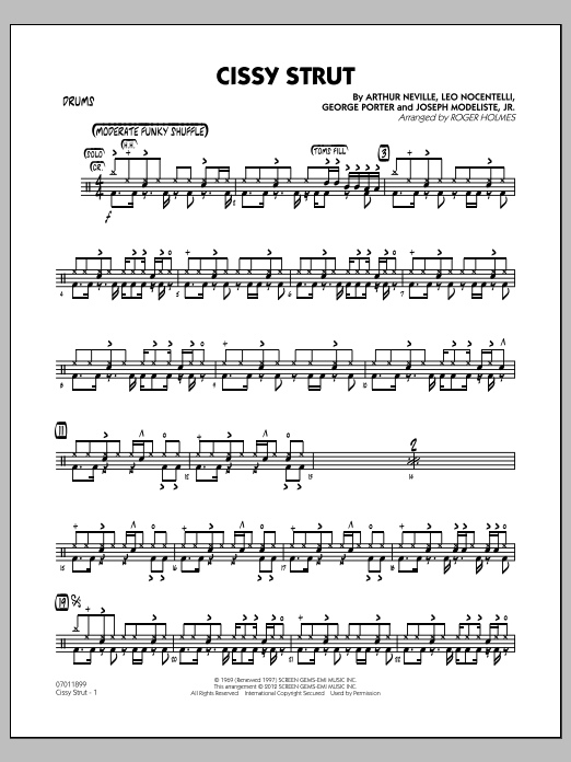 Roger Holmes Cissy Strut - Drums sheet music notes and chords. Download Printable PDF.