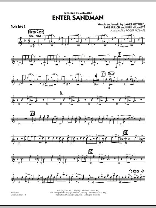 Roger Holmes Enter Sandman - Alto Sax 2 sheet music notes and chords. Download Printable PDF.