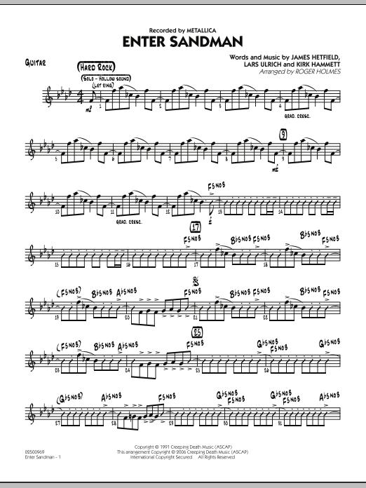 Roger Holmes Enter Sandman - Guitar sheet music notes and chords. Download Printable PDF.