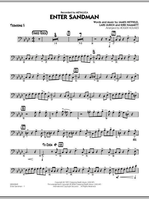 Roger Holmes Enter Sandman - Trombone 3 sheet music notes and chords. Download Printable PDF.