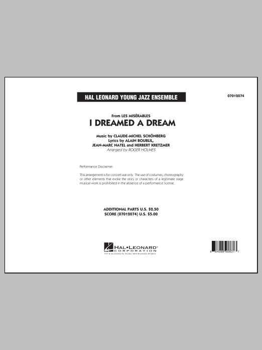 Roger Holmes I Dreamed a Dream (from Les Miserables) - Conductor Score (Full Score) sheet music notes and chords. Download Printable PDF.