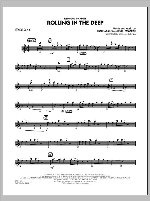 Roger Holmes Rolling in the Deep - Tenor Sax 2 sheet music notes and chords. Download Printable PDF.