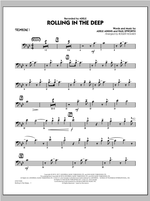 Roger Holmes Rolling in the Deep - Trombone 1 sheet music notes and chords. Download Printable PDF.