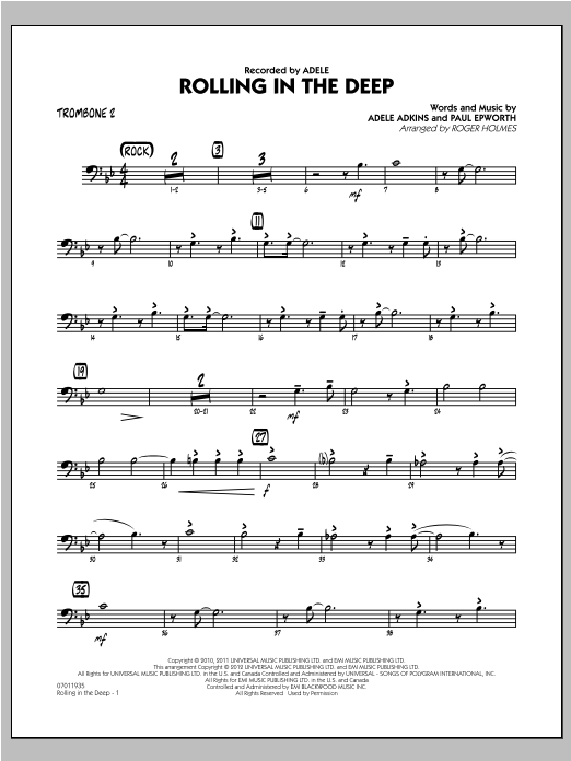 Roger Holmes Rolling in the Deep - Trombone 2 sheet music notes and chords. Download Printable PDF.