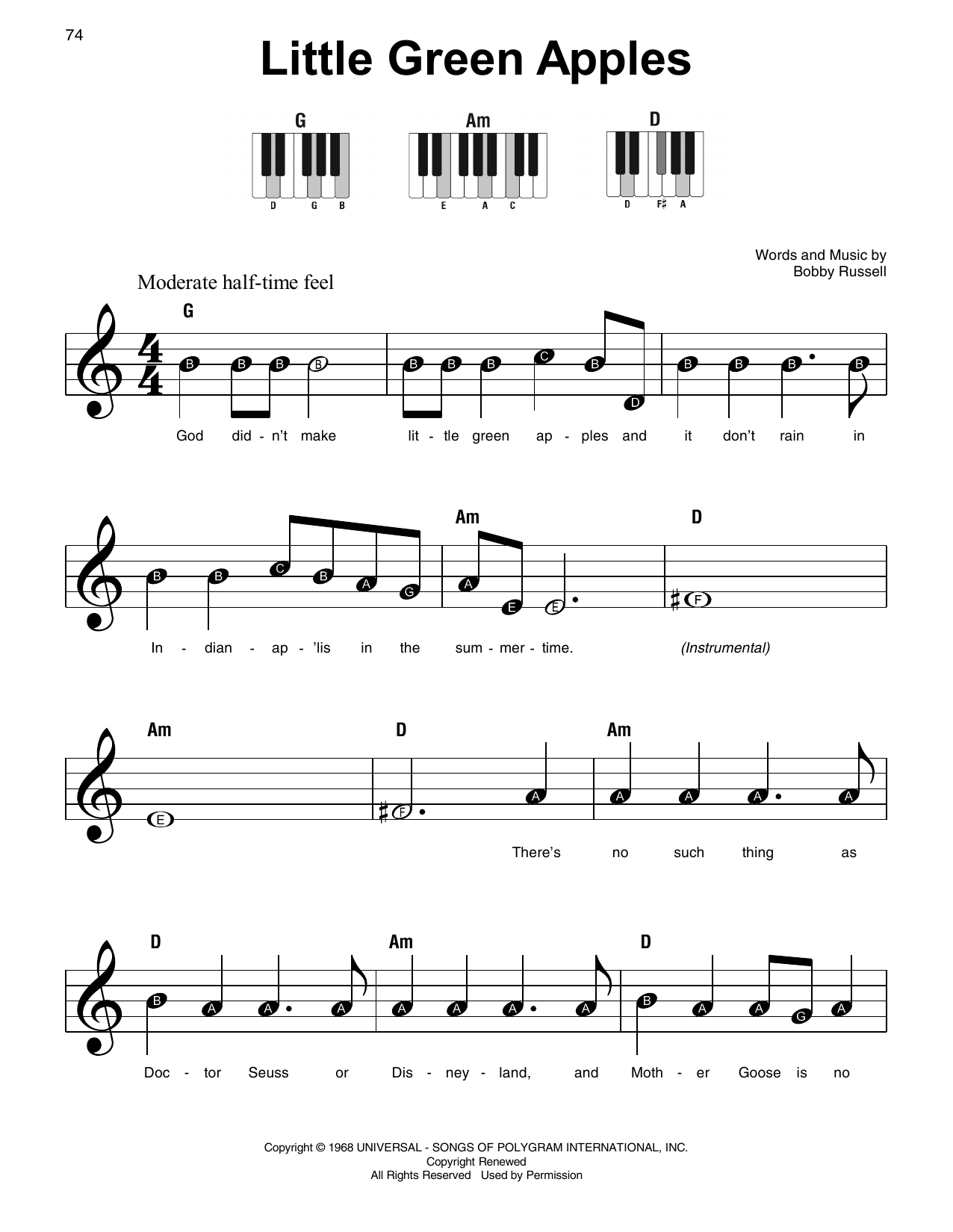 Roger Miller Little Green Apples sheet music notes and chords. Download Printable PDF.